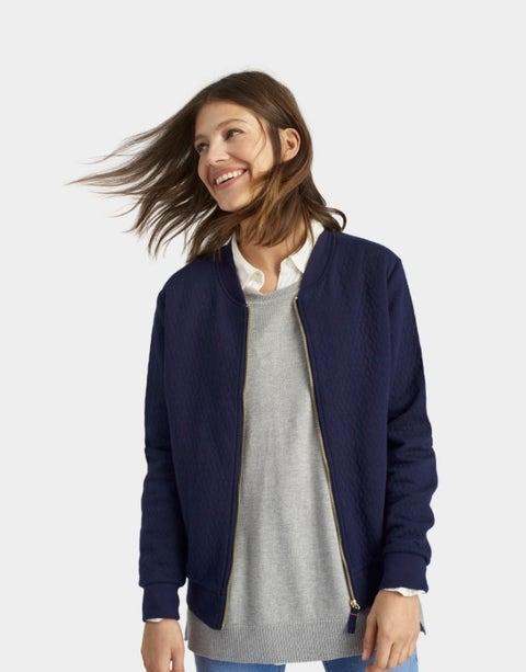 Sleeve, Jacket, Shoulder, Collar, Textile, Standing, Joint, Jaw, Denim, Neck,