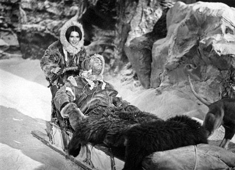 Human, Winter, Sitting, Sled, Fur, Pack animal, Snow, Natural material, Sledding, Boot,