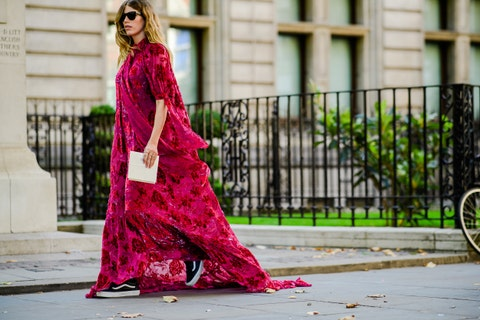 Clothing, Pink, Street fashion, Red, Dress, Fashion model, Fashion, Magenta, Beauty, Formal wear,