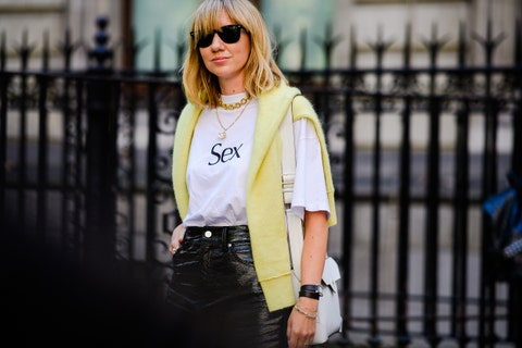 Clothing, Street fashion, White, Eyewear, Fashion, Shoulder, Yellow, T-shirt, Waist, Blond,