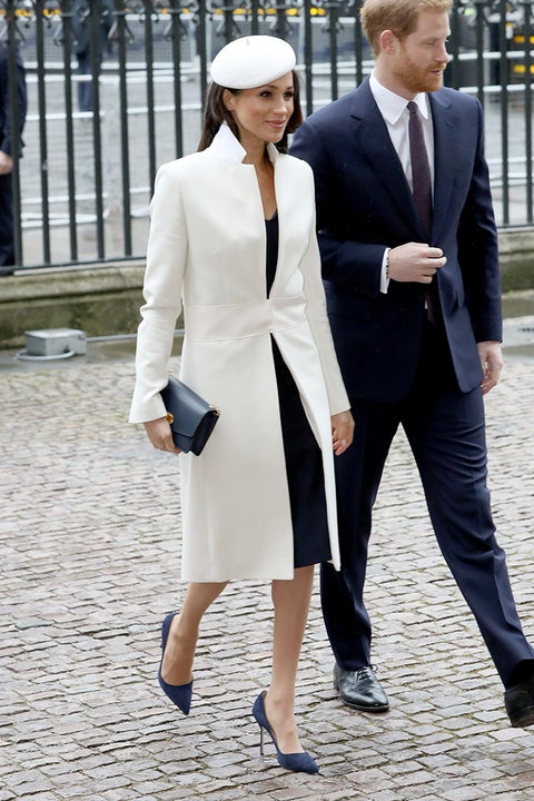 meghan markle white beret and white coat