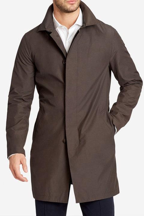 Clothing, Outerwear, Jacket, Coat, Sleeve, Collar, Overcoat, Hood, Trench coat, Brown,