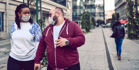 mixed race couple protesting against air pollution with masks