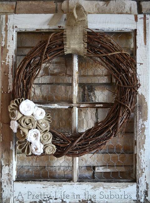 old window burlap wreath