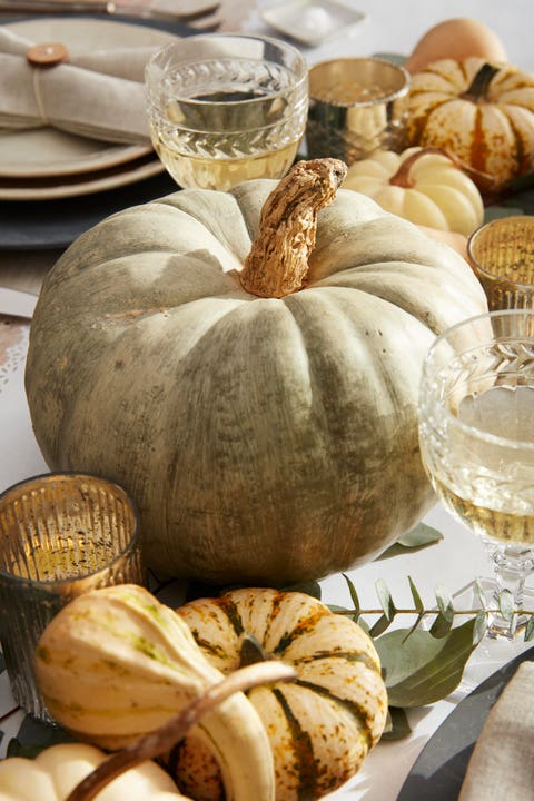 whitewashed green pumpkins on a thanksgiving table