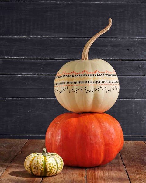 stencil painted pumpkin