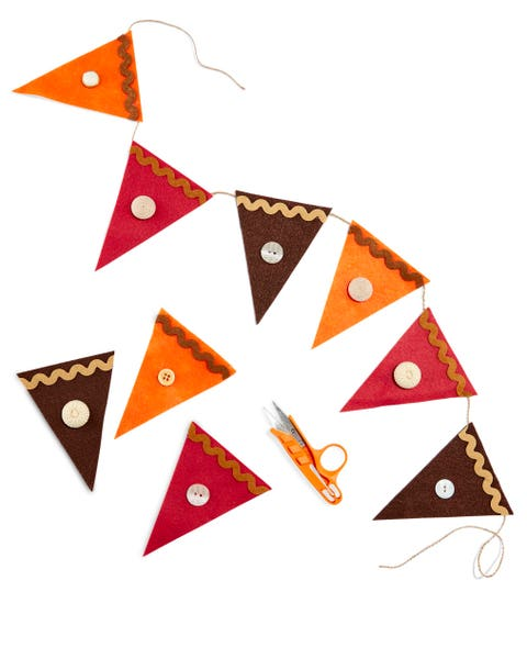 homemade pie slice garland with buttons