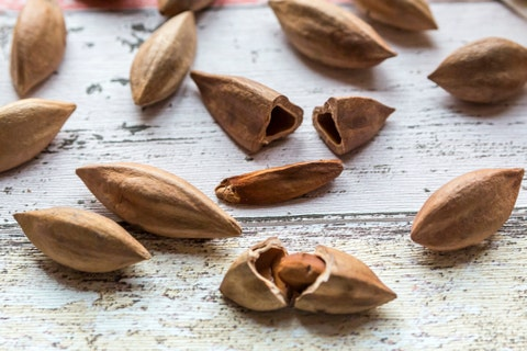 pili nuts on wood