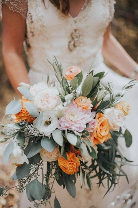 pink orange fall wedding bouquet
