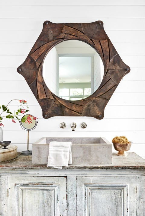 dye-cut bathroom mirror