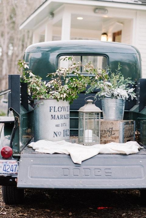 pickup truck bed outdoor wedding decor