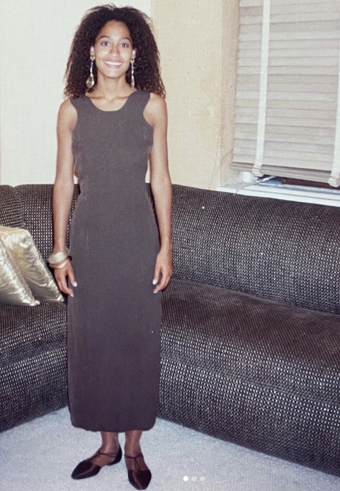Clothing, Dress, Black, Fashion, Brown, Shoulder, Leg, Neck, Little black dress, Long hair,