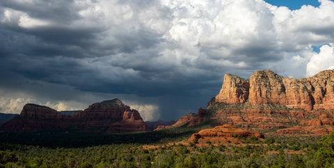 Sky, Cloud, Natural landscape, Mountainous landforms, Nature, Badlands, Formation, Cumulus, Rock, Mountain,