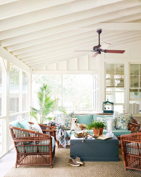 enclosed porch with furniture and dog