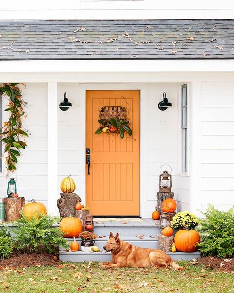 fall colors theme porch decor