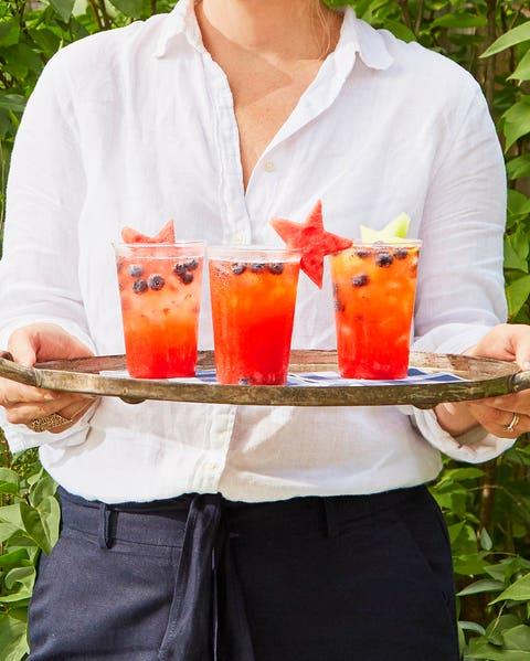 strawberry lemonade punch with watermelon and honeydew stars