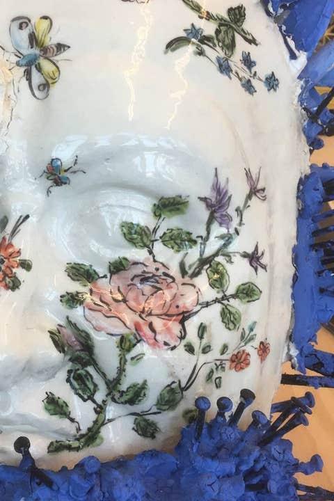 Porcelain, Blue, Cobalt blue, Dishware, Plate, Plant, Textile, Flower, Wildflower, Platter,