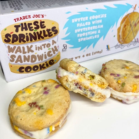 trader joe's butter cookies filled with buttercream frosting and sprinkles