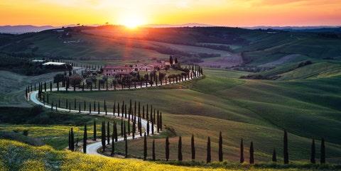 Nature, Natural landscape, Sky, Morning, Sunset, Sunrise, Hill, Landscape, Grass, Grassland,