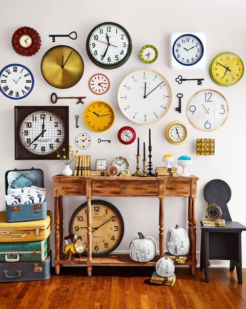 wall of clocks and keys
