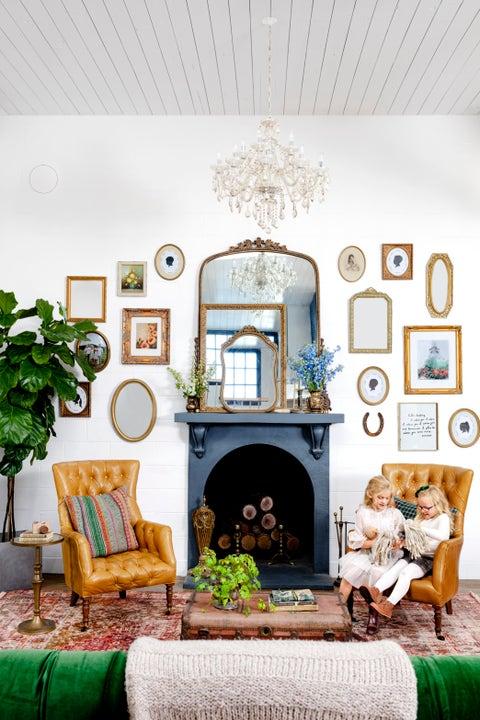 white living room antiques