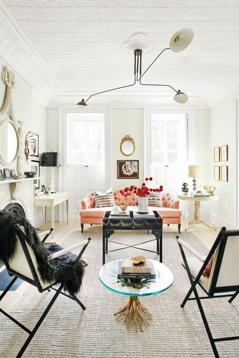 white living room colorful sofa