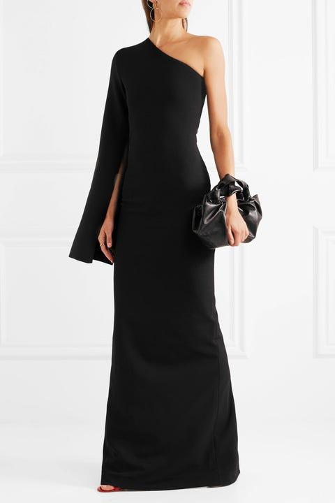 Clothing, Dress, Shoulder, Black, Gown, Fashion model, Joint, Neck, Sleeve, Cocktail dress,