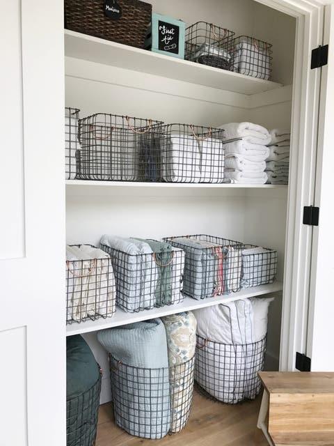 wire basket linen closet storage