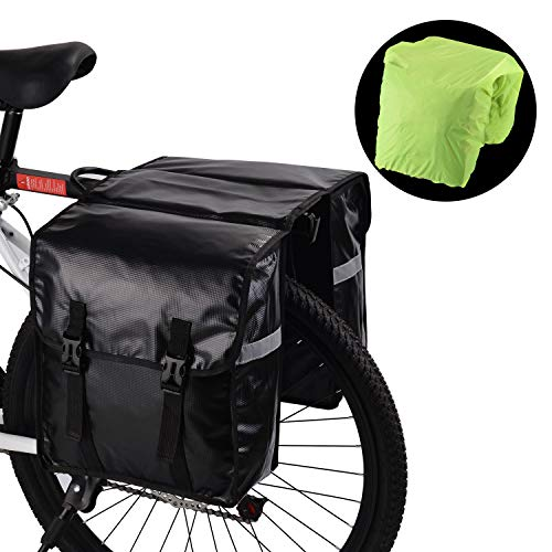 SHINYEVER Pannier Bags for Bike - Waterproof Bicycle Rear Seat Panniers Pack with Rain Cover & Reflective Stripe (Black)