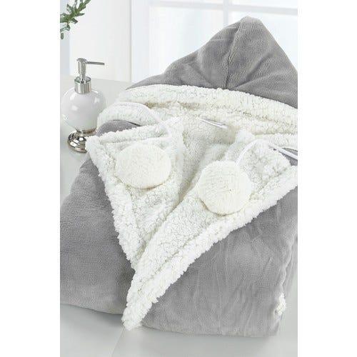 Yatco Faux Shearling Lined Snuggle Hoodie - Grey