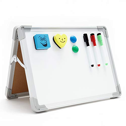 Mini Dry Erase White Board - Foldable, Small Desktop Whiteboard with Smooth Writing Surface - Two-Sided, Portable Magnetic Tabletop White Erase Board with a Heavy-Duty Aluminum Frame - 12 x 16 Inches