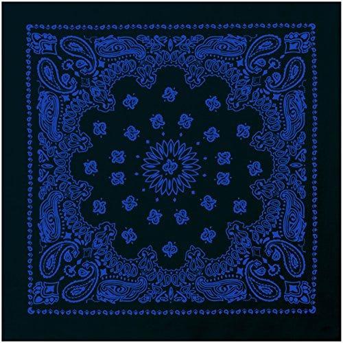 "Rothco 22"" Trainmen Bandana, Black/Blue"