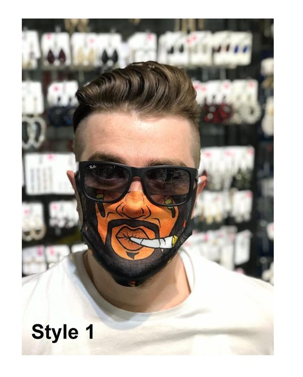 Reusable Face Mask High Quality Cotton in Black Mask With Filter Layer Funny Adult Face Mask For Women and Men