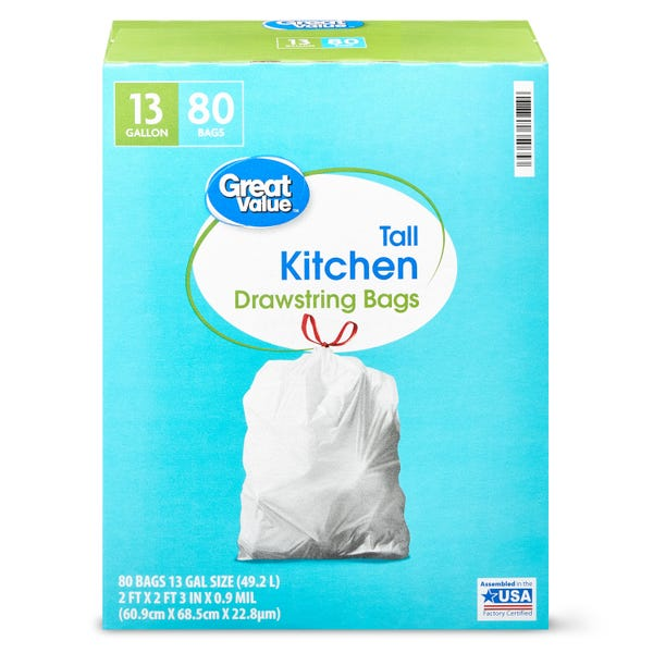 Great Value Tall Kitchen Trash Bags, 13 gallon