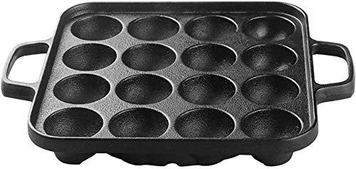 COOKER KING KP13 Pre-Seasoned Cast Iron Takoyaki Pan, Nonstick Square Baking Tray Aebleskiver Pan(NO PFOA/TOXIN), 16 Molds