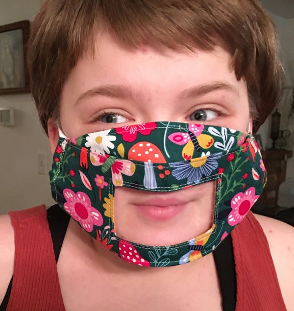 Face Mask with Window for Speech Therapists, Hearing Impaired