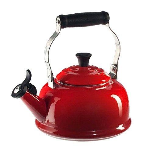 Le Creuset Enamel On Steel Whistling Tea Kettle, 1.7 qt., Cerise