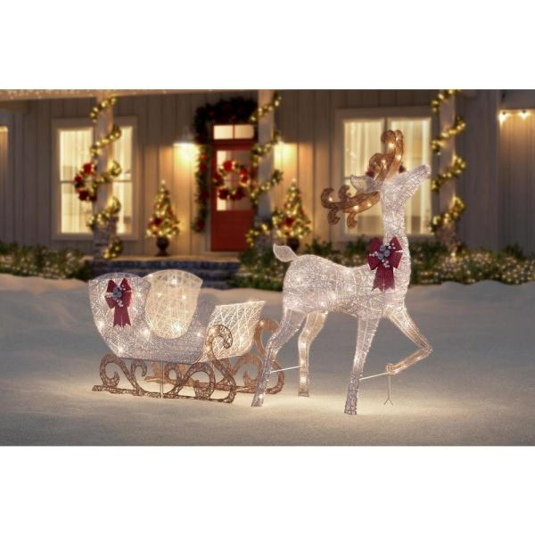 Polar Wishes 60 in. Life Size White Christmas Deer