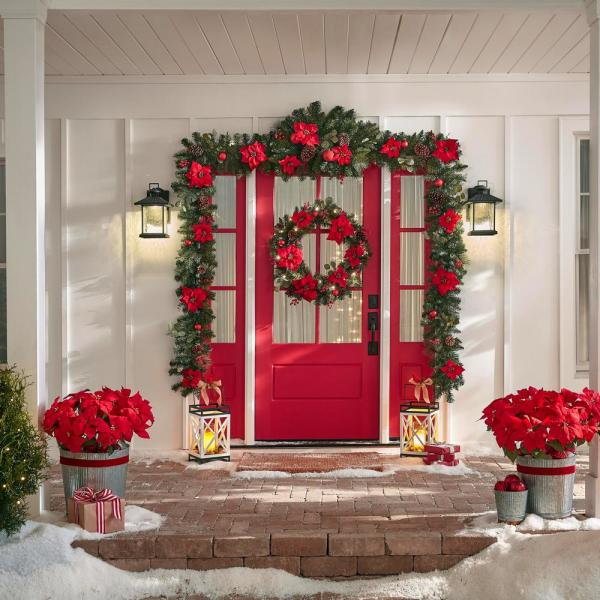 32 in. Pre-Lit LED Berry Bliss Artificial Christmas Wreath