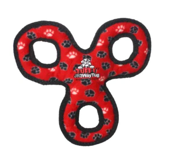 Tuffy's Red Paw Print Jr 3 Way Tug Dog Toy