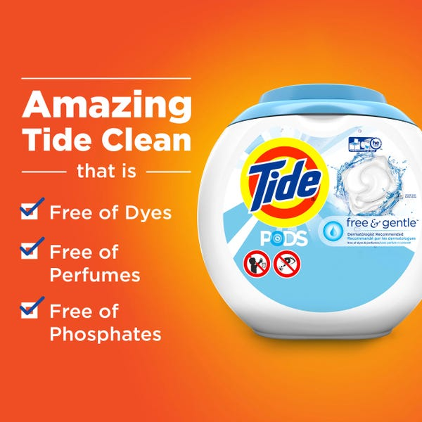 Tide Pods Free & Gentle, 96 Ct Laundry Detergent Pacs