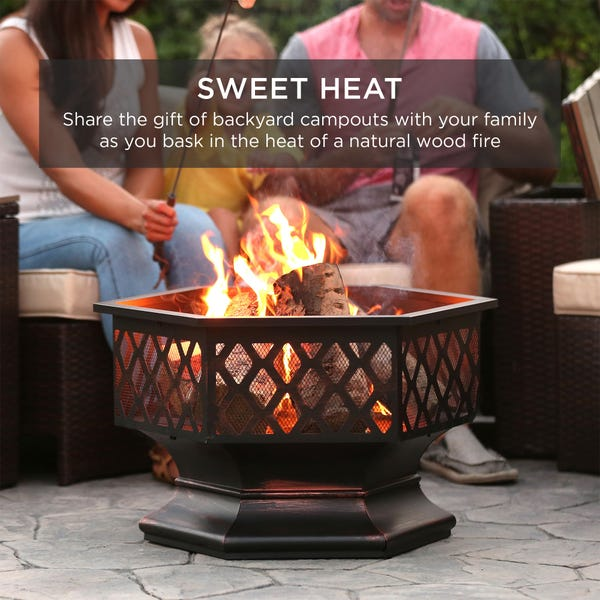 Best Choice Products 24in Hex-Shaped Steel Fire Pit for Garden
