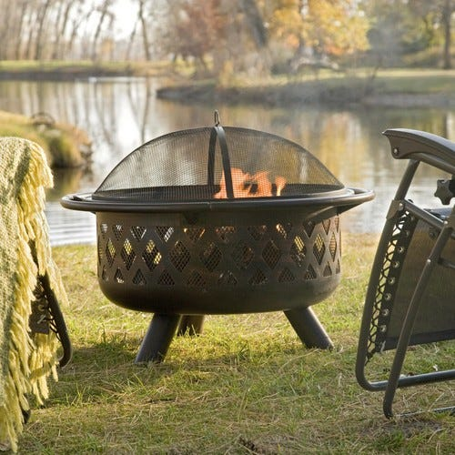 Coral Coast Rubbed Bronze Crossweave 36 in. Wood Burning Fire Pit