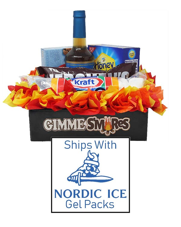 Gimme S'mores Kit in Campfire Themed Gift Box! Everyone's Favorite Camping Treat