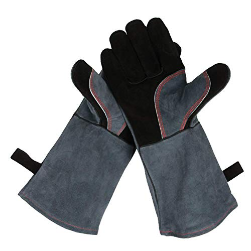 OZERO 932°F Heat Resistant Grill BBQ Gloves Leather Forge Welding Glove with Long Sleeve for Men and Women