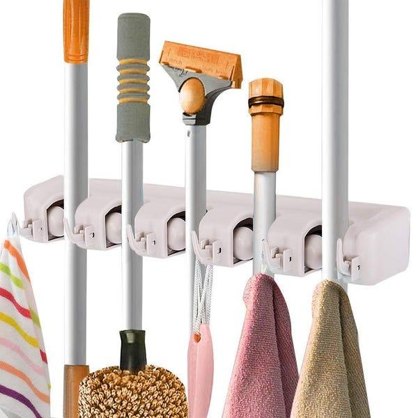 5-Position Home Kitchen Storage Broom Organizer, Wall-Mounted
