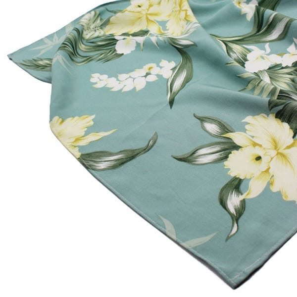Made in Hawaii, USA - Bamboo Sage Bamboo Orchid Flower - Bandana - Soft - Summer Fashion - Face Cover - Scarf - Face Cover