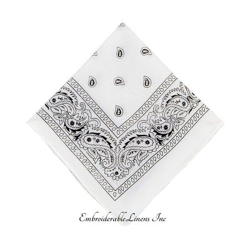 Bandana - Custom Embroidered - By EmbroiderableLinens Inc - Embroidered In Your Choice Of Color - With Up To 5 Words