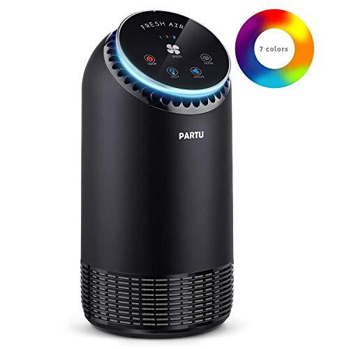 PARTU HEPA Air Purifier for Home- Smoke Air Purifier with Nightlight, 100% Ozone Free