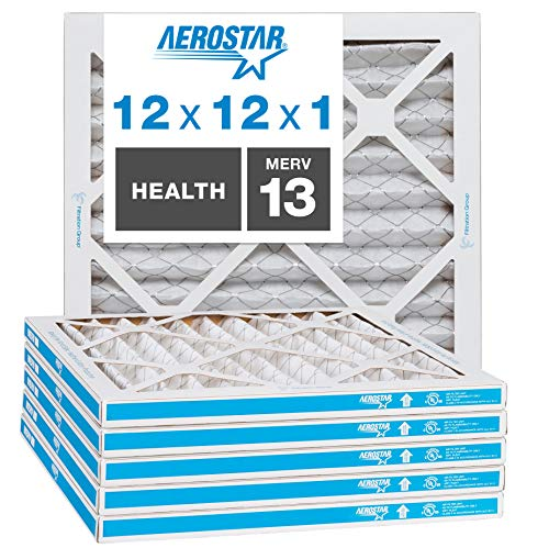 Aerostar Home Max 12x12x1 MERV 13 Pleated Air Filter Made in the USA Captures Virus Particles